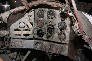 Remains of the cockpit of a crashed world war two fighter