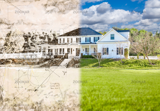 Artist Rendering Drawing of Beautiful House Facade with Cross Section of Photographic Completed Home