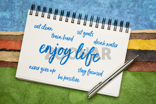 healthy lifestyle word cloud in a sketchbook