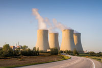 Nuclear Power Plant Temelin in South Behemia Czech Republic in autumn, photo with road in foreground