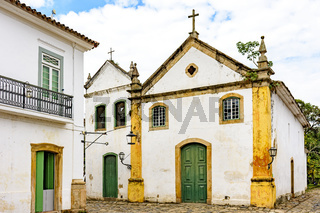 Famous church facade in the streets of ancient and historic city of Paraty