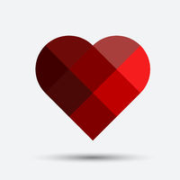 red segmented mosaic heart isolated on grey background