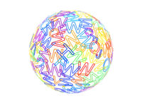 Globe or sphere made of random colored letters of English alphabet.