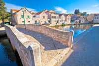 Town of Vrboska on Hvar island bridge and channel view