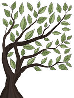 Tree background with green leaves