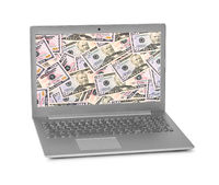 Money on notebook screen