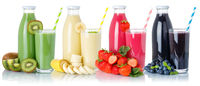 Collection of smoothies fruit juice drink glass and bottle isolated on white