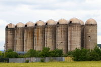 Abandoned old concrete silos