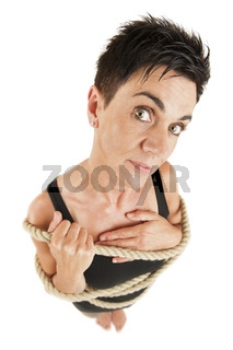 Woman tied up wide angle right