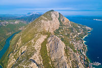 Cetina river canyon Adriatic sea and Biokovo mountain aerial view