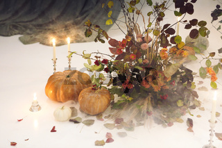 Composition of natural Halloween decorations
