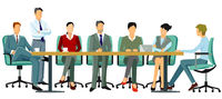 Business people hold a conference - vector illustration