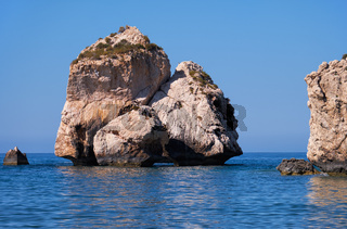 Aphrodite's Stone on Petra tou Romiou or Aphrodite Rock Beach, one of the main attractions and landmarks of Cyprus island.