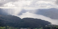 Amazing View from Hellandsnuten Mountain to town of Sand and Sandsfjord and the Ocean. Norway.