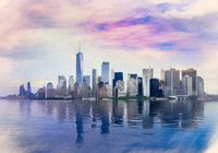 Pastel digital paiting of panorama of Manhattan with calm water