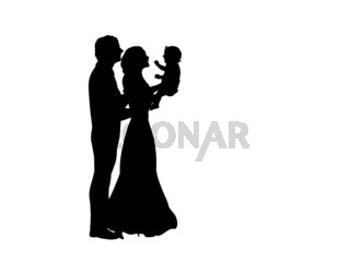 Silhouettes happy father and mother holding newborn baby in the air
