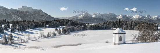 panoramic landscape in Bavaria at winter