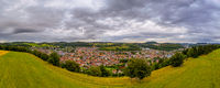 Impressive wide view over the beauty countryside of germanys Swabian Alb with the city Albstadt in the panoramic framed center.