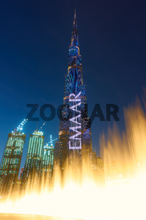 The Dubai Fountain and The Burj Khalifa tower at night