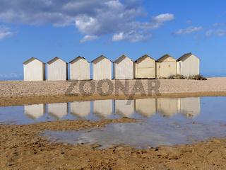Strandhütten in Ouistreham, Normandie