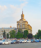 Traffic jam Khreschatyk street Kiev