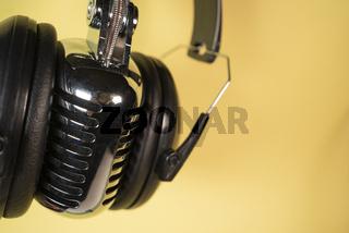 Audiophile Gear Chrome Vintage Microphone Audio Music Headphones Listening Device