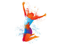 Dancing Girl with Colorful Splashes on White
