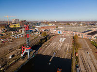 Top down view of NDSM warf in Amsterdam North The Netherlands old industrial shipyard.