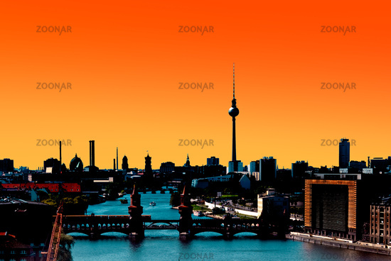 Berlin Skyline Panorama sunset