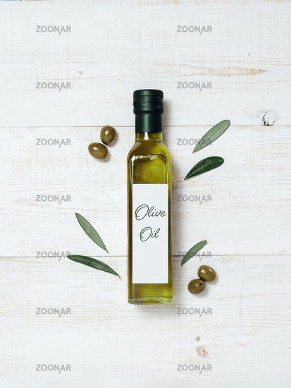 Olive oil glass bottle mock up, top view