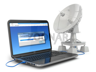 Wireless internet concept.  Laptop and satellite dish.