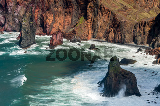 Cliffs and Rocks at St Lawrence in Madeira showing unusual vertical rock formations
