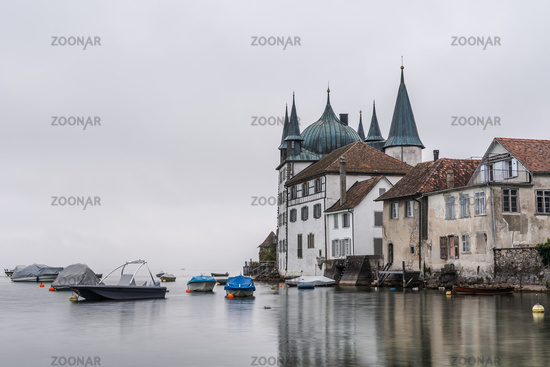The Turmhof in Steckborn on a foggy morning, Lake Constance, Canton Thurgau, Switzerland