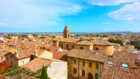 Panoramic view of old italian town Santarcangelo di Romagna