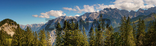 Large mountain panorama in sunny weather