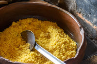 Brazilian crumbs in clay pot