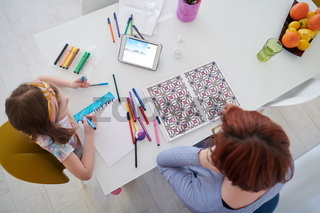 Mother and little daughter  playing together  drawing creative artwork