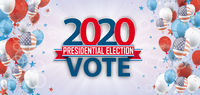 Vote 2020 USA Balloons Sunbeam Stars Bokeh Header