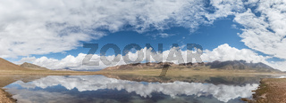 plateau lake and blue sky reflection panorama