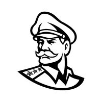 Head of an American Three-Star General Mascot Black and White