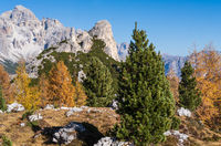 Autumn Dolomites mountain rocky view, Sudtirol, Italy