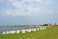 Cityscape and beach of city Buesum, Schleswig-Holstein, Germany
