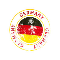 Germany sign, vintage grunge imprint with flag on white