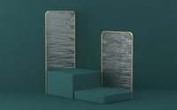 Mock up podium for product presentation two cubes with textured glass panels 3D