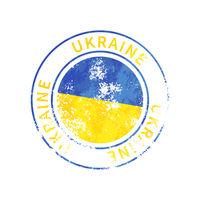 Ukraine sign, vintage grunge imprint with flag on white