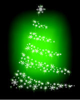 Abstract Christmas tree of snowflakes and sparks on a green background