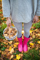 A young girl with a basket of mushrooms is standing in pink rubber boots.