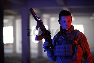 modern warfare soldier in urban environment