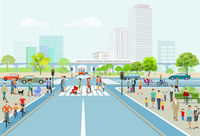 City with road traffic, skyscrapers, apartment buildings and pedestrians on the sidewalk, illustrati