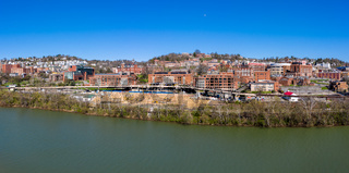Aerial drone panorama of the campus of the university in Morgantown, West Virginia